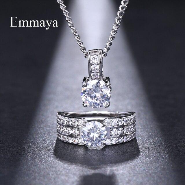 Emmaya Braut Schmuck Sets Weibliche Schmuck Mit Zirkon Set Ohrringe Anhänger Halsketten Verstellbaren Ring Geschenk Party für Frau