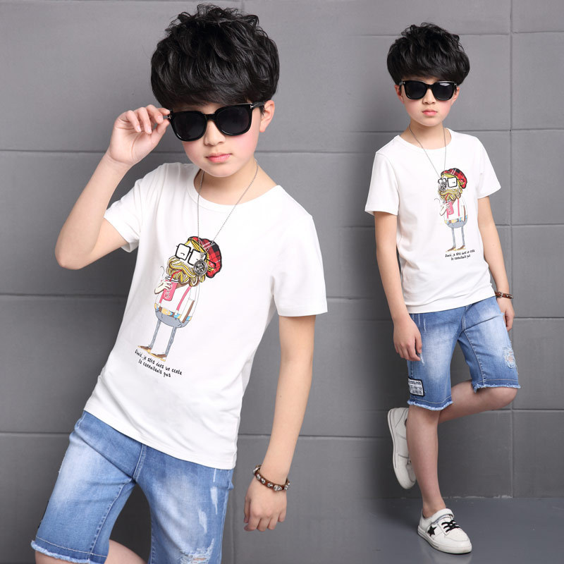 Children's Garment Suit New Pattern Children Korean Boy Short Sleeve T Suit 2 Pieces Kids Clothing Sets Suits summer child suit new pattern girl korean salopettes twinset child fashion suit 2 pieces kids clothing sets suits