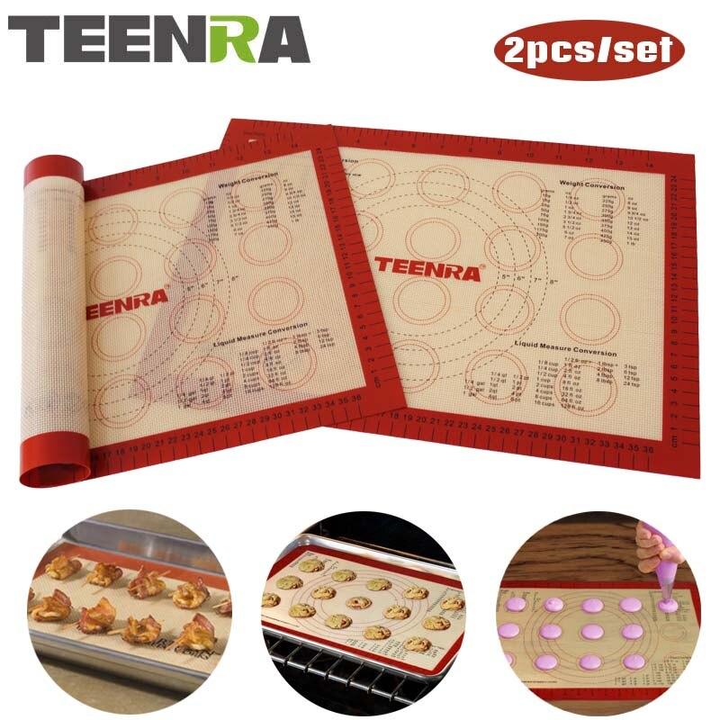 TEENRA 2 unids/set antiadherente Macaron para hornear esteras de silicona para hornear revestimiento resistente al calor hoja de hornear Juego de Herramientas de pastelería