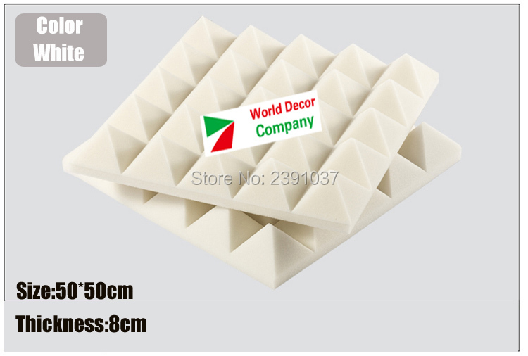 High Density White Studio foam 8pcs Big size 50x50x8cm Soundproofing Acoustic Sound Treatment Studio Room Absorption Wedge in Sealing Strips from Home Improvement