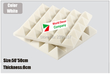White acoustic Foam 8pcs size 50*50*8cm Pyramid foam EMS shipping Soundproof panel studio  8cm Thickness