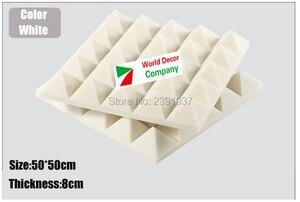 High Density White Studio foam 8pcs Big size 50x50x8cm Soundproofing Acoustic Sound Treatment Studio Room Absorption Wedge