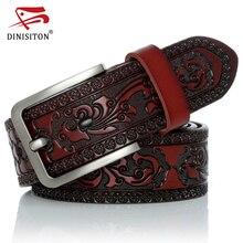 DINISITON пояса из натуральной кожи ремни для мужчин дизайнер ремень мужской печати винтажная Пряжка со штырем Роскошный Новая мода высокое качество YH918