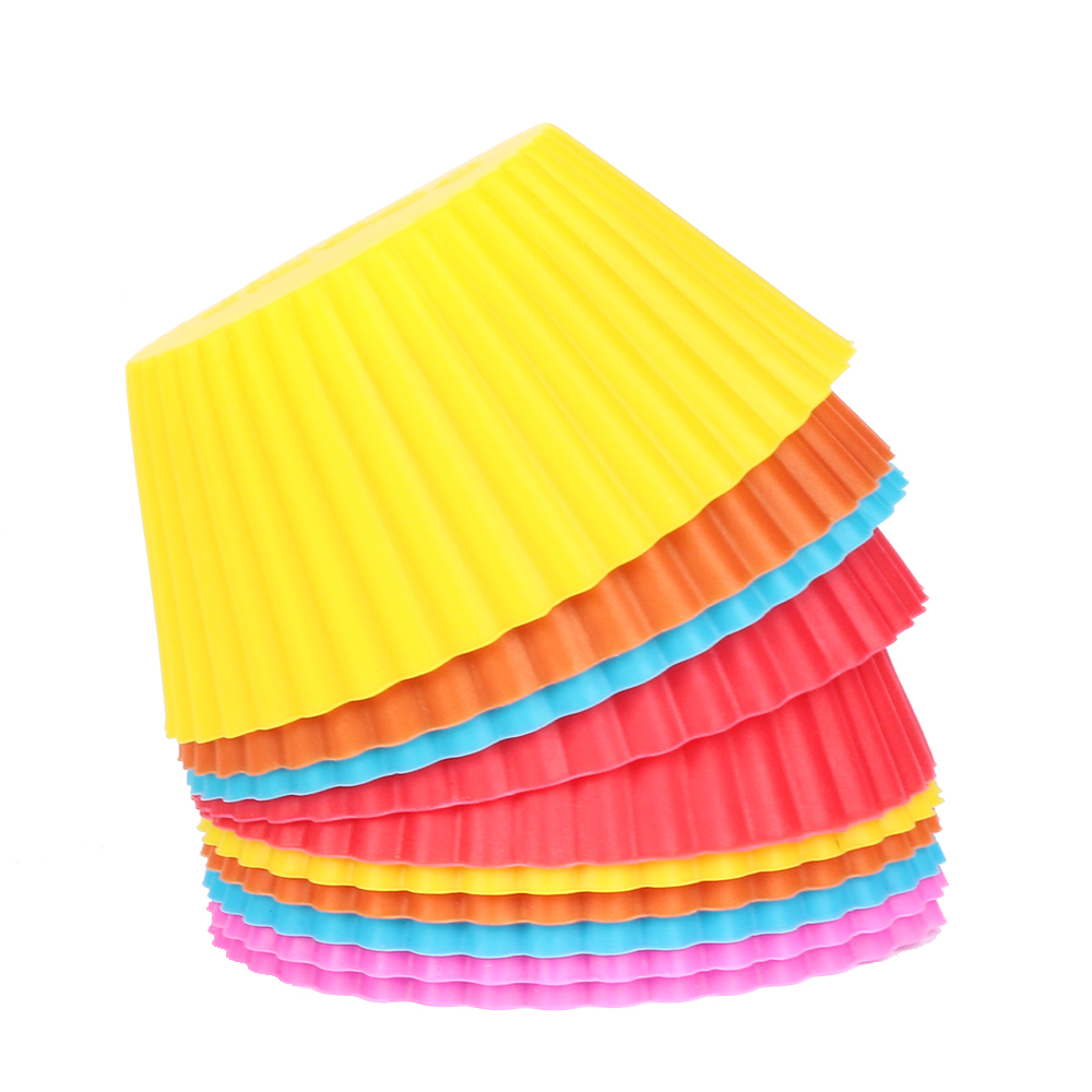 6//12pcs Silicone Cake Cup Muffin Cases Baking Mold DIY Cupcake Wrapper Reusable