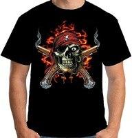 100% Cotton Fashion  Printed T Shirts Tee Shirt Casual Sleeve Gildan Short Men Pirate Skull O-Neck Compression T Shirts