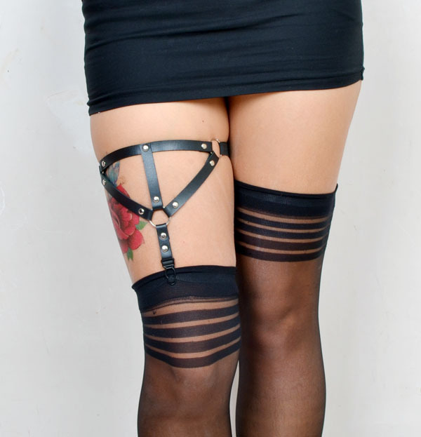 Gothic Harajuku style Leather Garter Black Bondage underwear garter womens leg garter sweet angel BODY CAGE