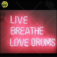Live Breathe Love Drums Neon Sign charming Handmade neon light Sign Decorate Home Bedroom Windows Iconic Neon Lamps Advertise