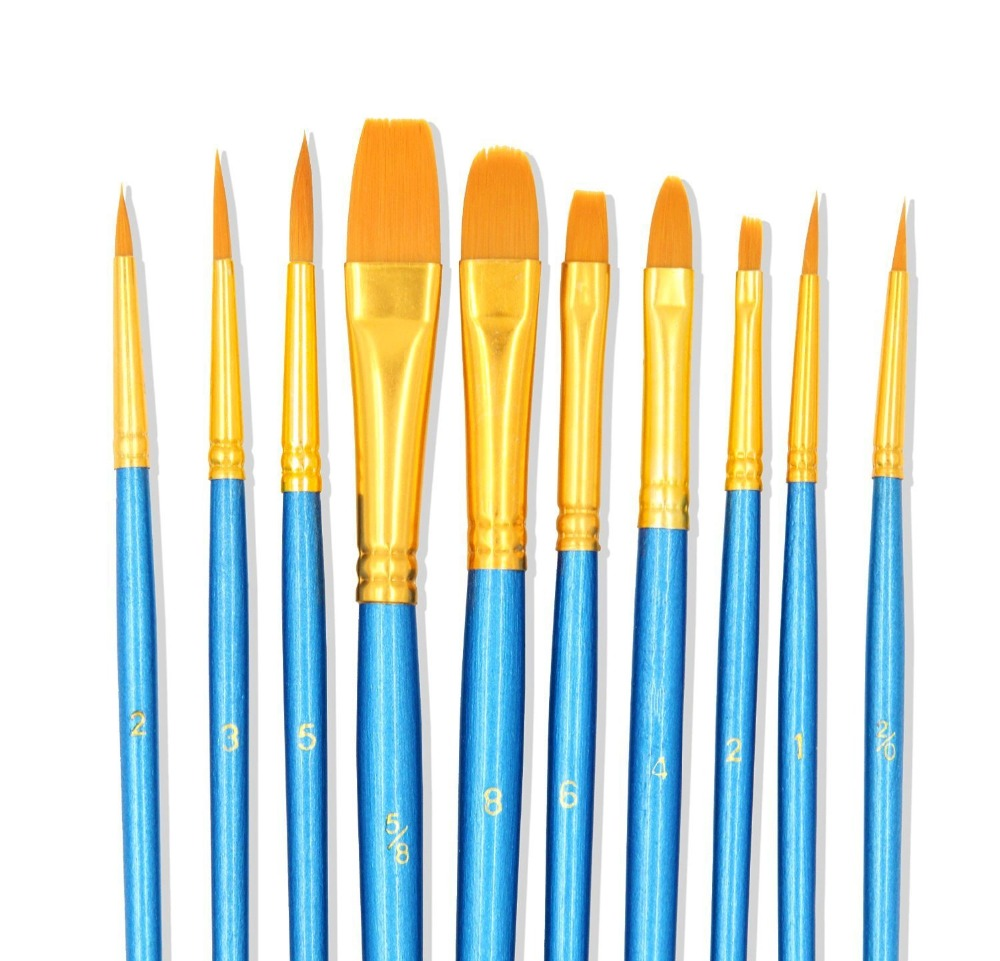 Paint Brushes 10 Set Professional Paint Brush Round Pointed Tip Nylon Hair Artist Acrylic Brush For Acrylic Watercolor Oil Paint
