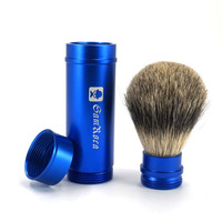 Superb Barber Salon Shaving Brush Blue Aluminium Alloy Handle Beard Cleaning Brush Badger Men S Shaving