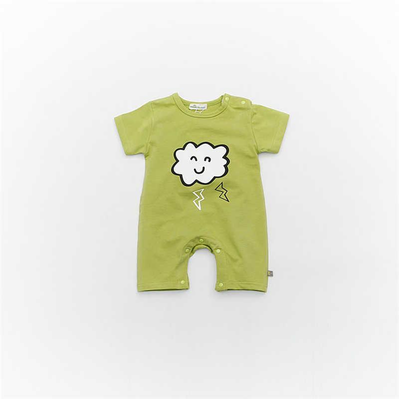 ブランドベビーロンパース半袖コットンベビー少年少女のロンパース黒ムーン新生児ジャンプスーツ幼児夏の服かわいい衣装