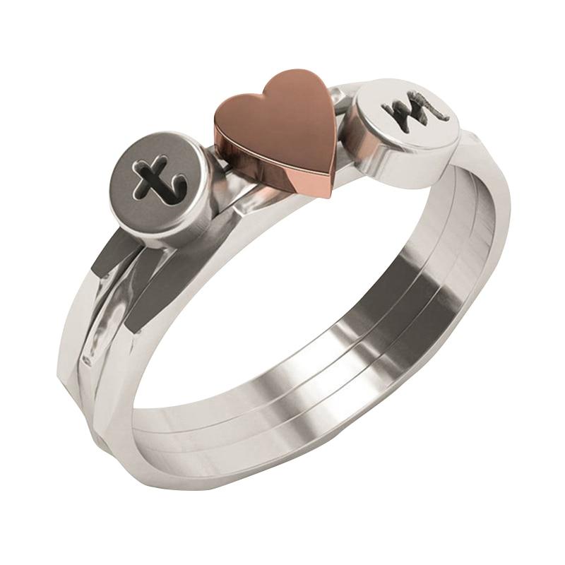 Anéis EVBEA A-Z 26 Letra Anel Inicial Rosa Coração Casal Anéis Para As Mulheres Personalizadas À Mão Carimbado Anel de Amante de Empilhamento
