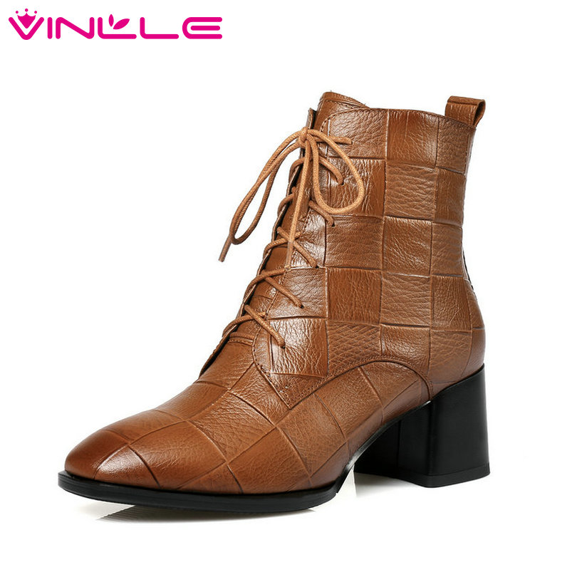 VINLLE 2019 Women Ankle Boots Platform Square High Heel