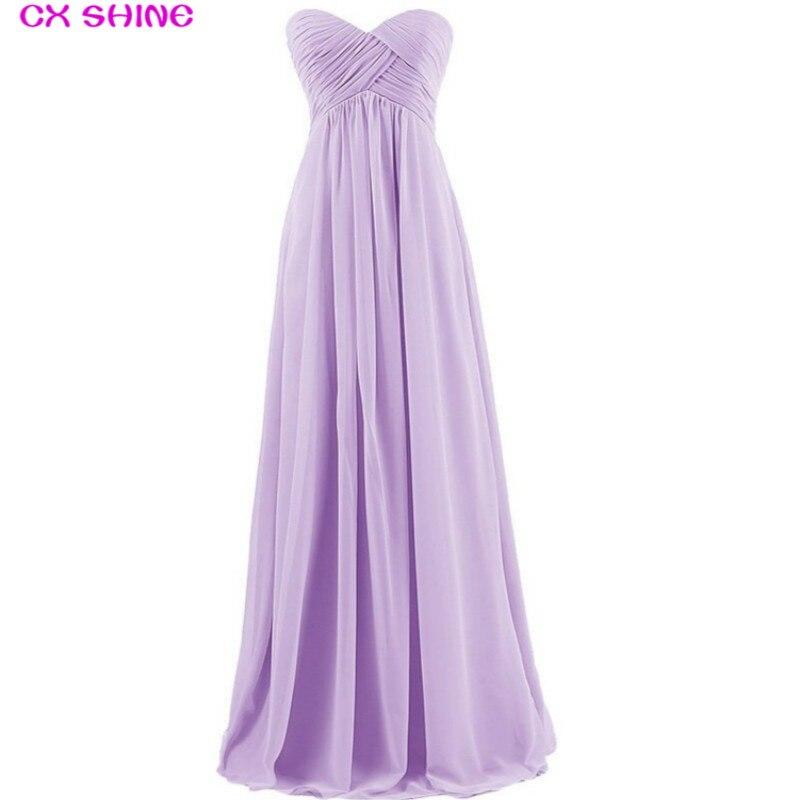 CX SHINE Chiffon Pleat Long Bridesmaid Dresses Custom