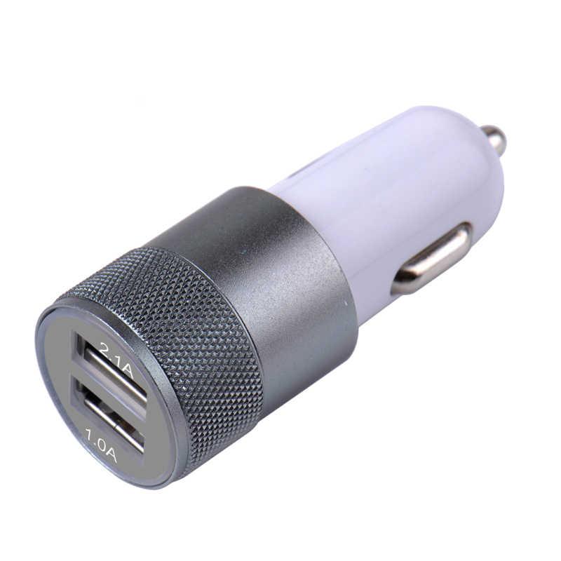 Mini cargador de coche USB Dual aleación de aluminio de doble puerto de 2 puertos de carga rápida duradera para IPad teléfono Android IPhone 5 V/1A