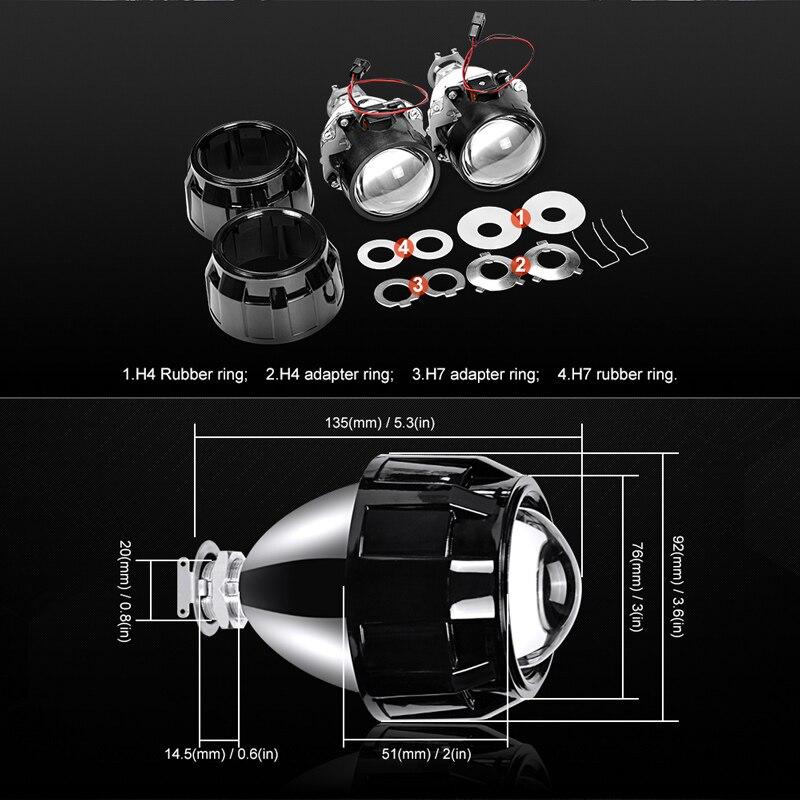 RACBOX 35 w 2.5 pouce LHD RHD bi-xénon HID Projecteur Objectif H4 H7 Auto Phare Ensemble 4300 k 6000 k 8000 k Pour Rénovation Phare De Voiture - 5