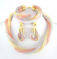 משלוח חינם צבע זהב אפריקאי דובאי סטי תכשיטים כלה חתונה רומנטית אופנה שרשרת מקסים מסתורי