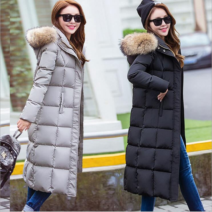 Women's   Down     Coat   Winter Hooded Fur Collar X-Long Fitted Femininas Thick Jacket 90% White Duck   Down   Removable Scarf New AL02
