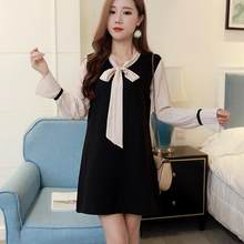 autumn long-sleeve bowknot pregnant women dress office ladies elegant pleated sleeve patchwork formal dress DW795(China)