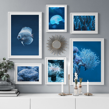Sea Coral Jellyfish Fish Marine Life Nordic Posters And Prints Wall Art Canvas Painting Wall Pictures For Living Room Home Decor laeacco sea marine fish sunshine posters and prints canvas painting wall art picture home decor living room decoration
