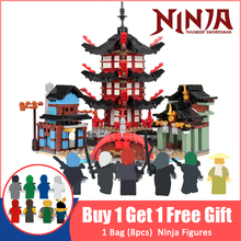 цены на 757pcs Ninja Temple DIY Building Blocks Bricks Toys Compatible Brand Ninja Temple 70751 With Figures Gifts For Children  в интернет-магазинах