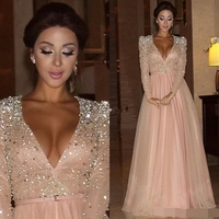 Formal Evening Dress 2019 Long Sleeves Deep V Neck Crystal Blush Pink Arabic Red Carpet Prom Party Pageant Gown