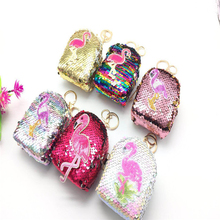 цена на Women Mini Flamingo Sequins Coin Earphone Purse Bag Small Wallet Key Chain Zipper Paillette Square Coin Purse Kids Cute Bags