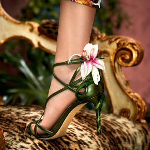 Image 1 - Luxury Lily Embellished Metallic Leather Strappy Stiletto Sandals Women Open Toe Ankle Strap Floral Heel Shoes Woman 2019 Summer