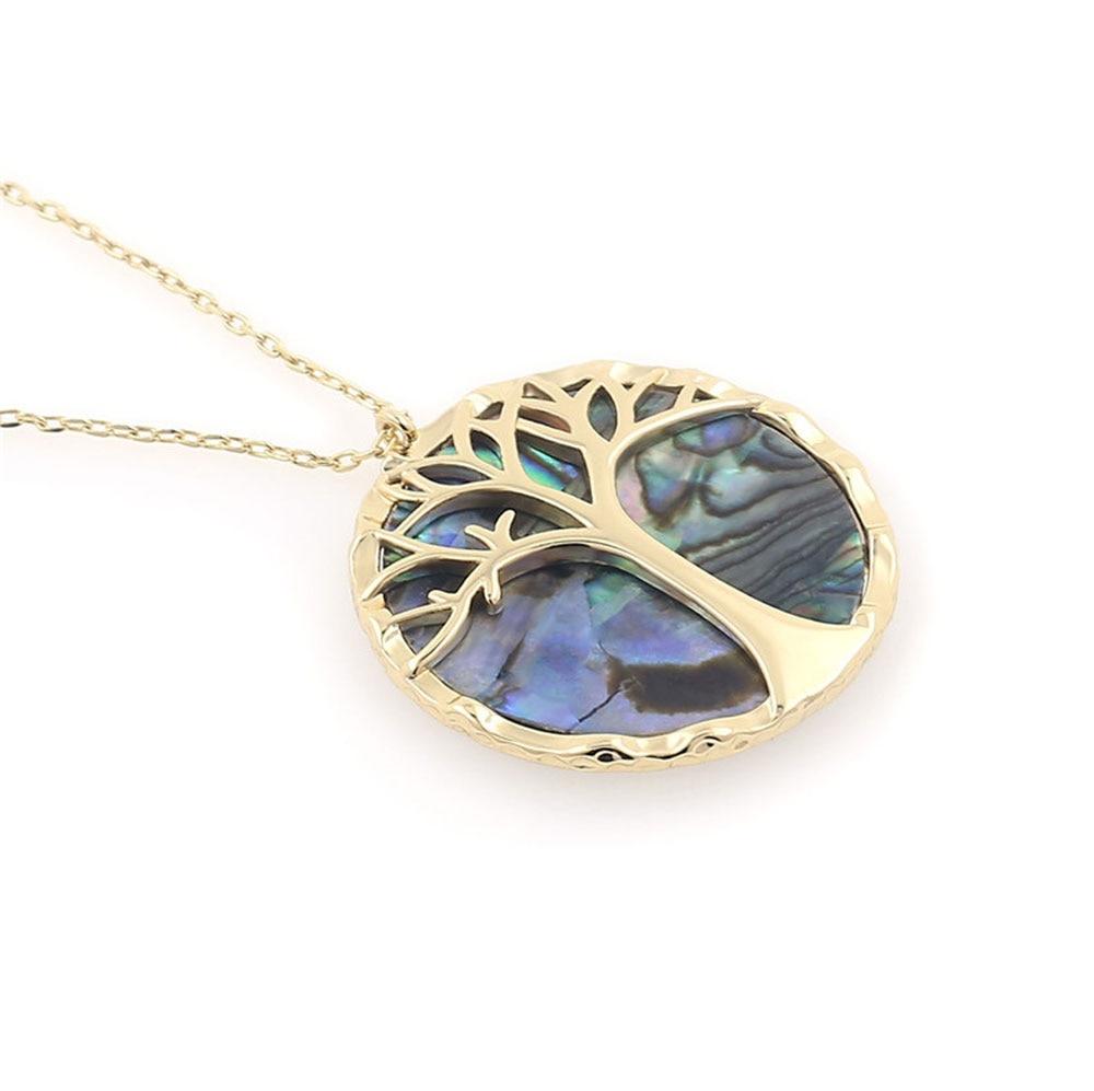Collier avec pendentif rond, arbre de vie et nacre