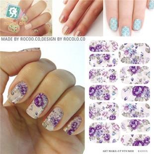 K5707b transferência de água Nails Art cinza adesivo flores roxas projeto Nails Foil Sticker Minx Harajuku Fashion Manicure Decor Decal