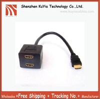 Free Shipping HDMI Male To 2x HDMI Female Splitter Y Cable HDMI Splitter Cable 1male To