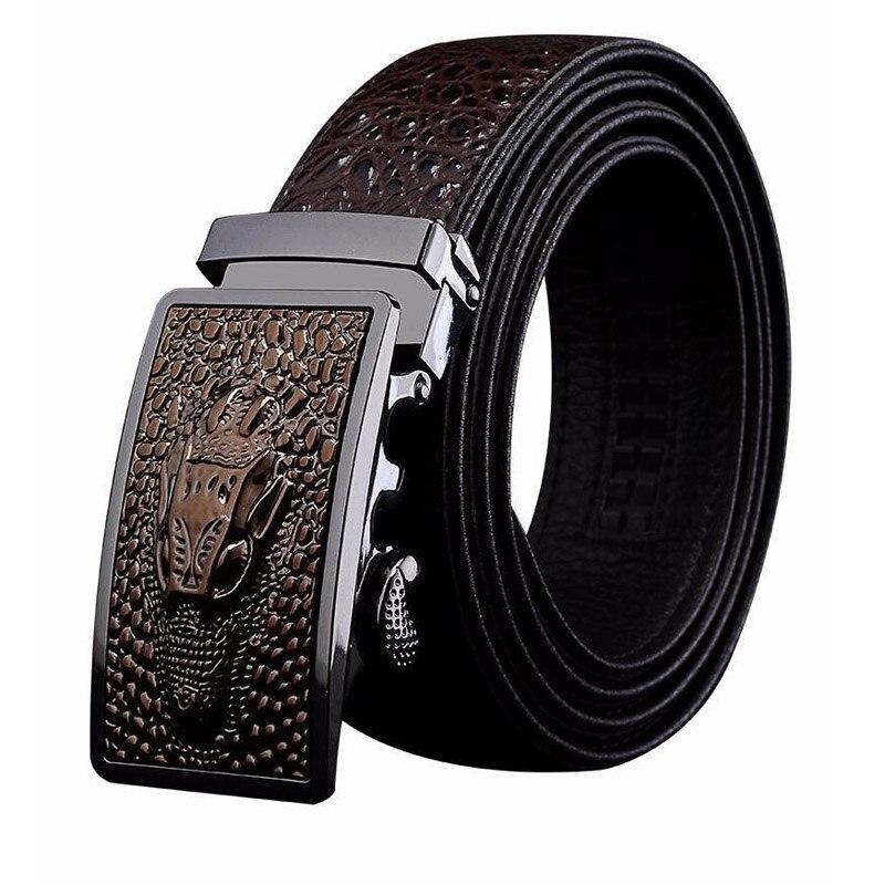 Concepteur automatique boucle en cuir véritable ceinture Crocodile Alligator motif ceintures décontracté Business Jeans ceinture ZLB339B