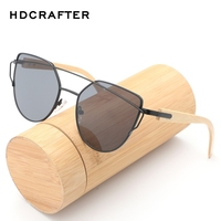 HDCRAFTER Women Cat Eye Sunglasses Wooden Legs Coating Mirror Flat Panel Sun Glasses Female Twin Beams