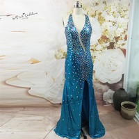 Vestido Longo De Festa Sparkling Blue Sexy Long Evening Party Dress Crystals Mermaid Prom Dresses 2017