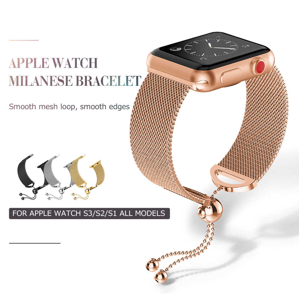 Milanese Strap for Apple Watch Band 38mm 42mm Stainless Steel Bracelet with Tassel Ornament Closure for iWatch Series 1 2 3 4