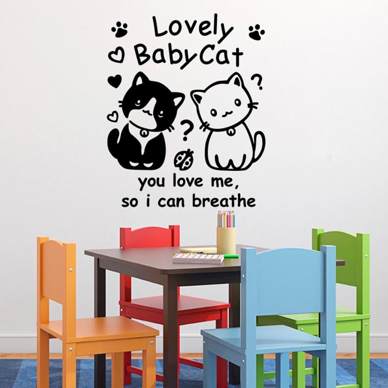 Funny Cute kitten Art Wall Sticker Children's room Home Decoration Vinyl DIY Removable Wallpaper JG3441
