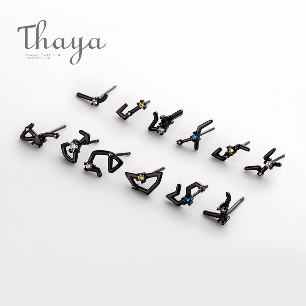 2018 Thaya 12 For Constellation Zircon Stud S925 Sterling Crystal Earrings For Girls Punk Mystical Jewellery Elegant Birthday
