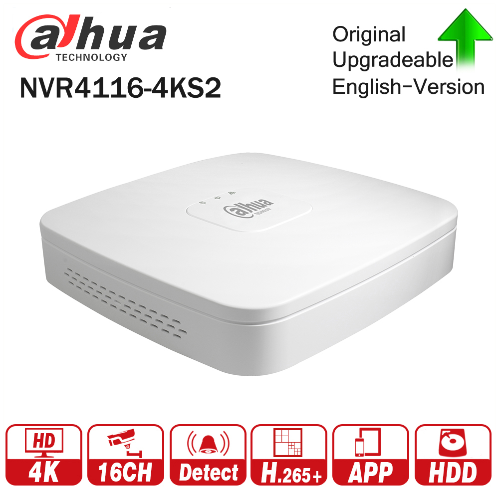 Dahua 4K NVR NVR4116-4KS2 16Channel Smart 1U 4K&H.265 Lite Network Video Recorder for Profession Dahua IP Camera Security System 2014 new arrival dahua smart 1u nvr with p2p mini nvr nvr4104 nvr4108 nvr4116 free dhl shipping