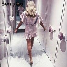 BerryGo Ruffle strap satin white dress women 2017 Autumn short sleeve sexy dresses Party o neck chic short dress female vestidos