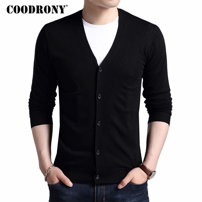 COODRONY Cardigan Men Wool-Sweater V-Neck Classic Cashmere Autumn Winter Pure-Color Casual