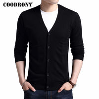 COODRONY Cardigan Men 2019 Autumn Winter Soft Warm Cashmere Wool Sweater Men Pure Color Classic Casual V Neck Cardigans Top 7402