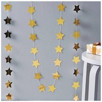 New Hot Star Paper Garland Banner Bunting Baby Shower Wedding Party Decoration Gold