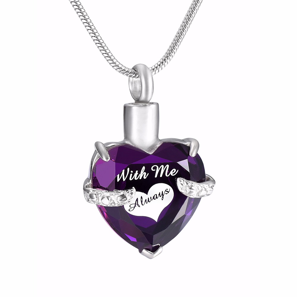 Fish With Purple Stone Cremation Jewelry Keepsake Pendant Memorial Urn Necklace