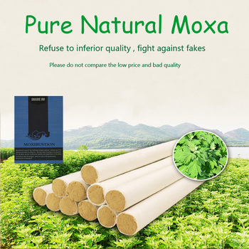 SHARE HO 50:1 Long Pure Moxa Stick Chinese Moxibustion Acupuncture Point Heating Therapy 10 years Old Gold Moxa Rolls 10pcs bamboo moxa moxibustion box acupuncture relaxation roller stick holder neck arm body acupoint massage moxibuting therapy device
