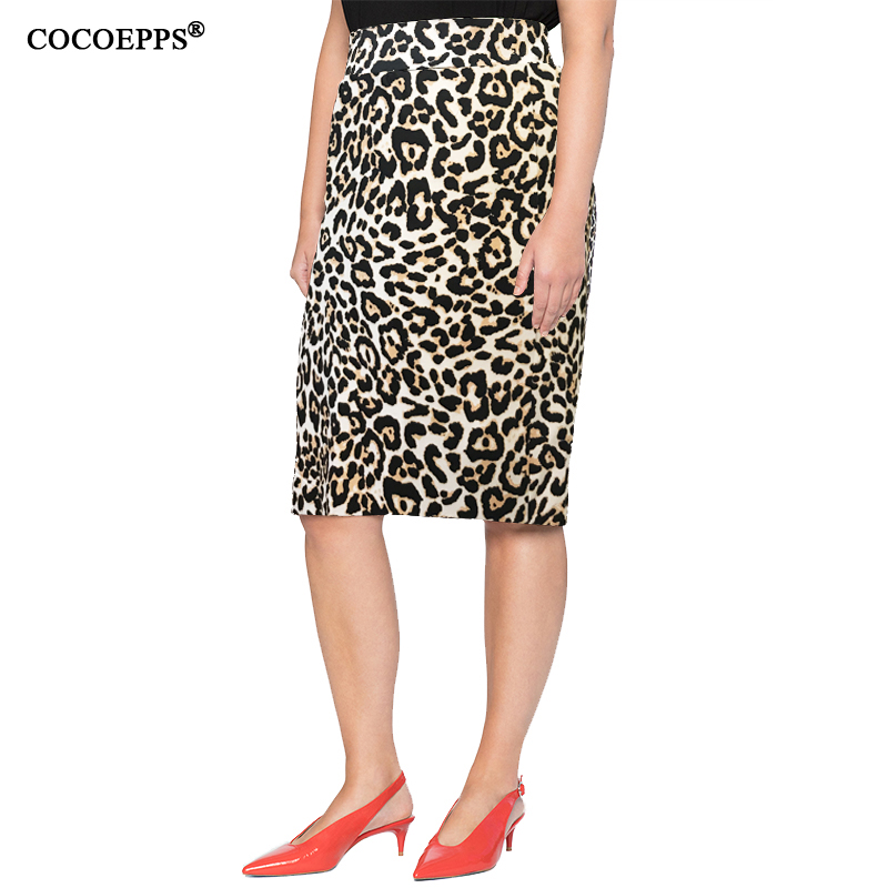 4XL 5XL 2019 Plus Size Summer Women Skirts Casual Leopard Print Ladies Office Bodycon Skirt Saias Big Large Size Pencil Skirts