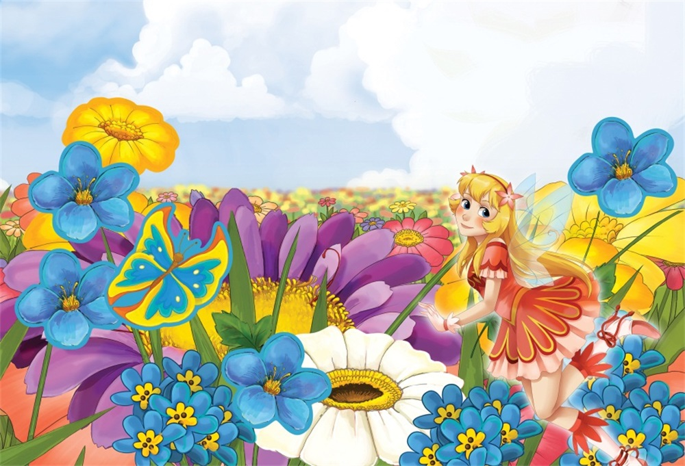 Laeacco Sun Flowers Spring Field Scenery Girl Butterfly Fairy Photographic Backgrounds Photography Backdrops For Photo Studio
