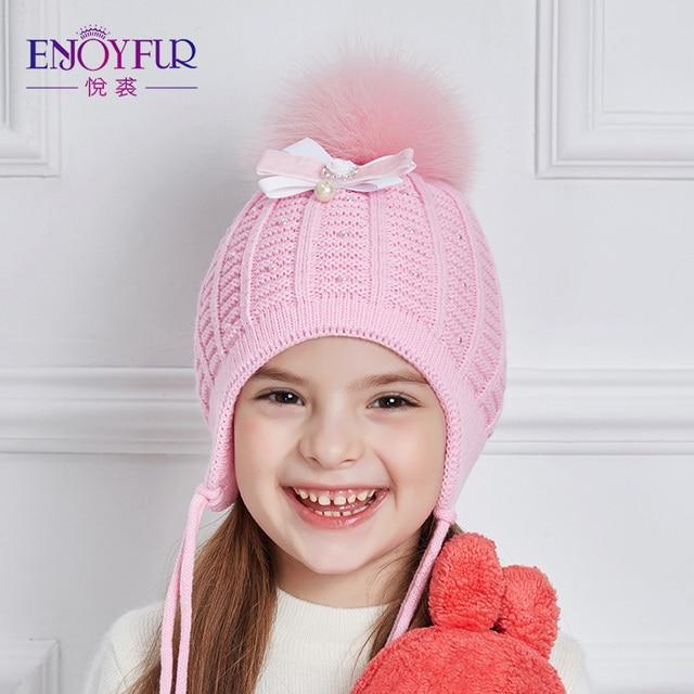Enjoyfur Niñas sombreros para el invierno otoño grueso cálido niños CAPS  Diamantes con piedras falsas gorros e7bea32465b