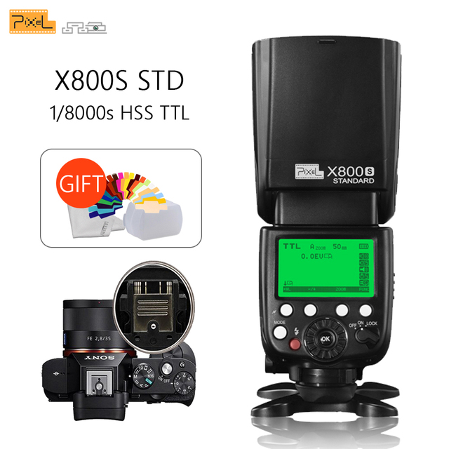 Điểm ảnh X800S Tiêu Chuẩn Không Dây GN60 TTL HSS Máy Ảnh Flash Speedlite Cho Sony A7 A77 A7R RX1 A6000 A6300 DSLR Vs x800N Yongnuo