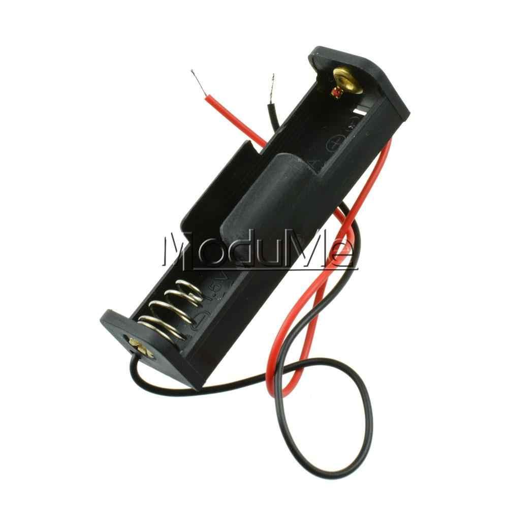 1 CHIẾC Pin Nhựa Ốp Lưng Hộp Lưu Trữ Giá Đỡ Với Dây Dẫn dành cho PIN AA 1.5 V 1XAA Pin