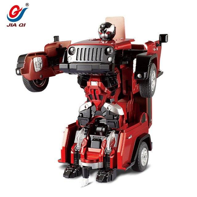 Горячий дистанционного управления автомобиль внедорожник робот детей электрические игрушки одним из ключевых деформировать трансформация круто динамический звук битва 2.4 г RC игрушки