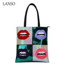 2016 Vintage frauen Täglich Glänzende Handtasche Roten Lippen Bling Pailletten Umhängetasche Damen Plaid Tote Tag Casual Glitter Funkelnde taschen